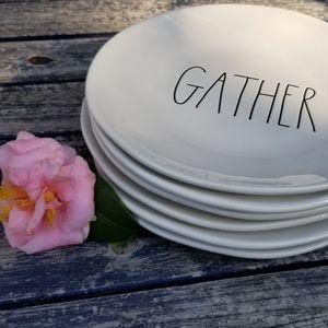 """Rae Dunn GATHER dinner plate set 6 (11"""" diameter)"""